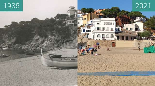 Before-and-after picture of Plage de LLafranc - El rincon de Garbí - Catalogne between 1935 and 2021-Aug-07