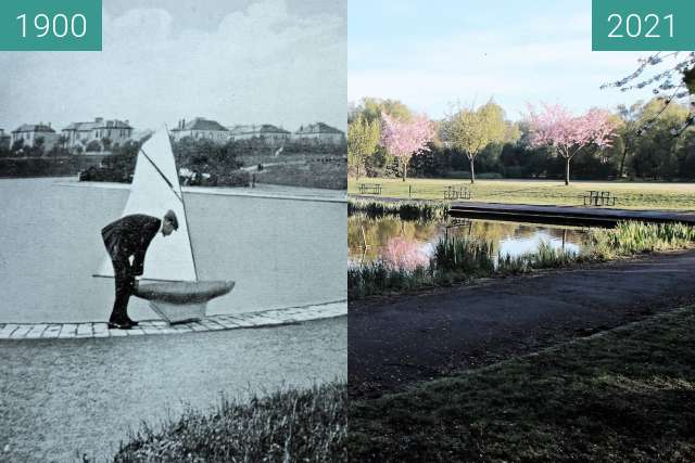 Before-and-after picture of Pond in Maxwell Park between 1900 and 2021-May-02
