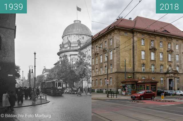 Before-and-after picture of Ulica Fredry between 1939 and 2018