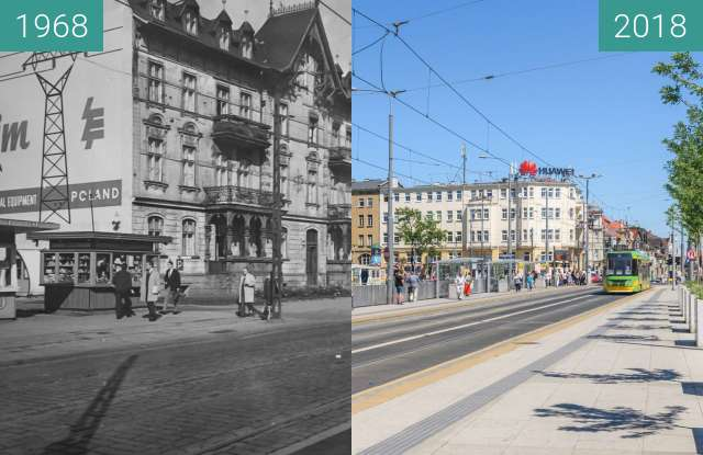 Before-and-after picture of Ulica Roosevelta between 1968 and 2018