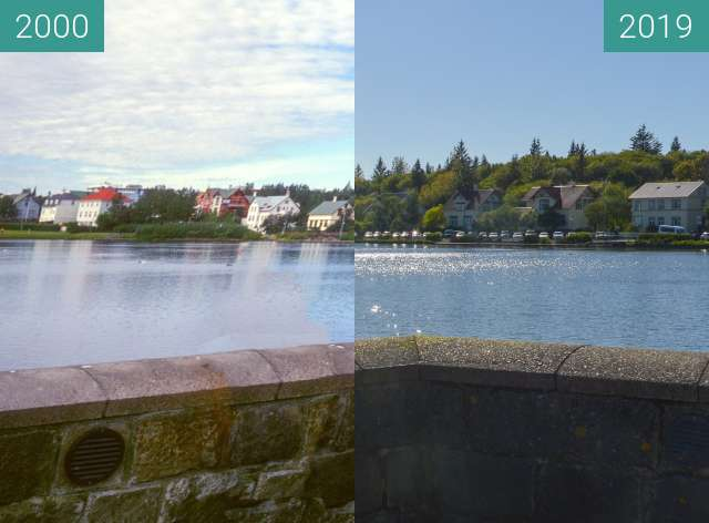 Before-and-after picture of Reykjavíkurtjörn between 2000-Aug-01 and 2019-May-23