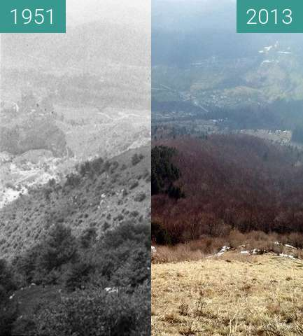 Before-and-after picture of Pogled v Breginj between 1951 and 2013