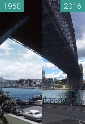 Before-and-after picture of Sydney Harbour Bridge between 1960 and 2016