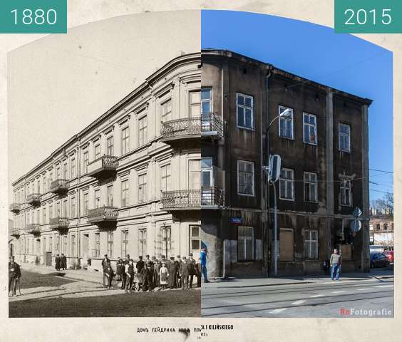 Before-and-after picture of Hendrich's House between 1880 and 2015