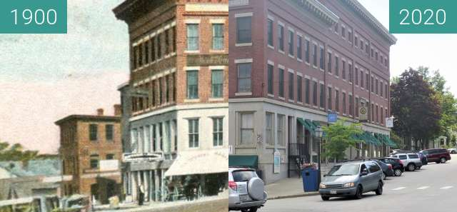 Before-and-after picture of Hayford Block, Church Street between 1900-Feb-18 and 2020-Sep-01