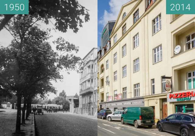 Before-and-after picture of Ulica Królowej Jadwigi between 1950-Aug-12 and 2014-Aug-12