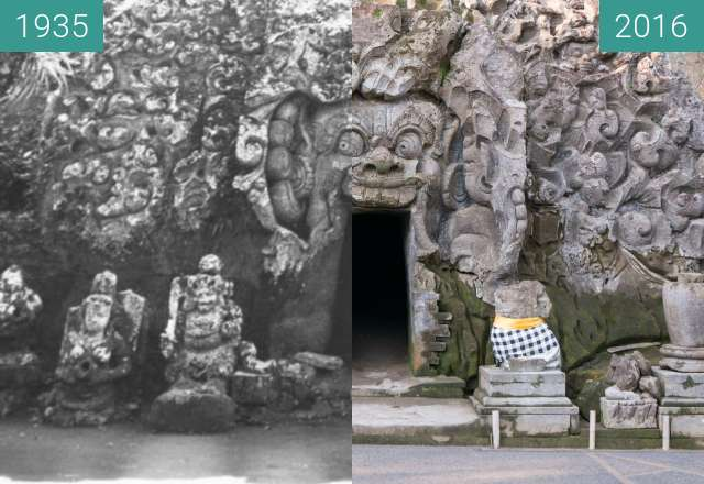 Before-and-after picture of Woman with Children in front of Elephant Cave between 1935 and 2016-Jun-09