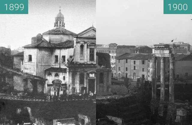 Before-and-after picture of Chiesa di Santa Maria Liberatrice al Foro Romano between 1899 and 1900