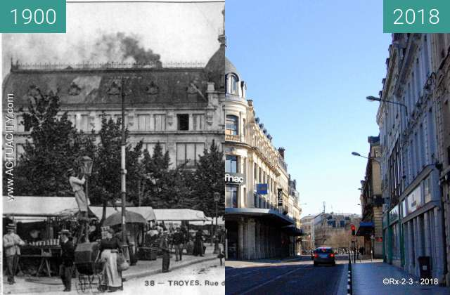 Before-and-after picture of TROYES - La Rue de la République et le Marché between 1900 and 2018-Feb-25