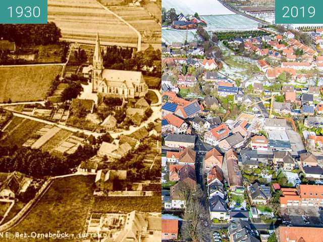 Before-and-after picture of Bad Iburg Glane between 1930 and 2019-Feb-03