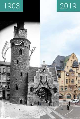 Before-and-after picture of Leipziger Turm mit Galgtor between 1903-Sep-06 and 2019