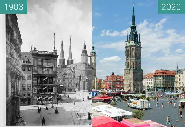 Before-and-after picture of Marktplatz, Roter Turm between 1903 and 2020-Jun-13