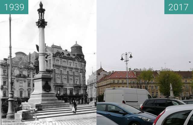 Before-and-after picture of Adam Mickiewicz Statue between 1939 and 2017-Apr-20