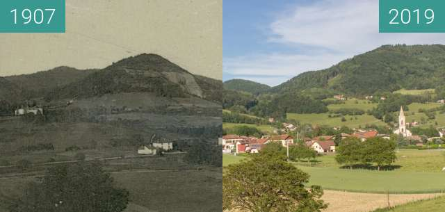 Before-and-after picture of Vue sur le village depuis Montmain between 1907 and 2019-Jun-13