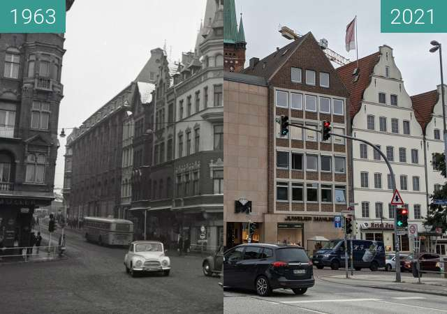 Before-and-after picture of Lübeck between 1963 and 2021-Sep-24