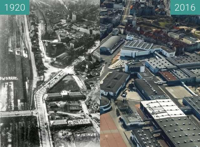 Before-and-after picture of Ulica Głogowska i widok na targi between 1920 and 2016