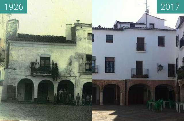 Before-and-after picture of Zafra, Plaza Chica between 1926 and 2017