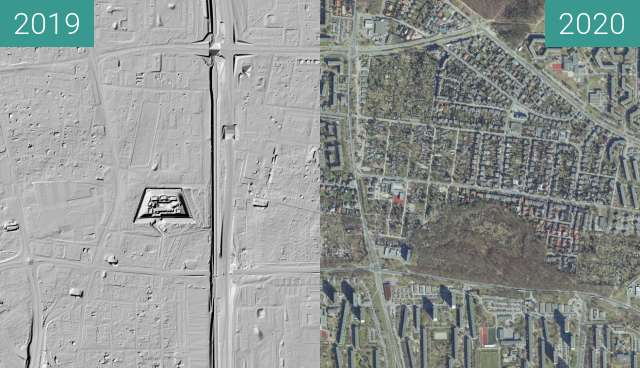 Before-and-after picture of Poznań - Forty V, Va (LIDAR) between 2019 and 2020