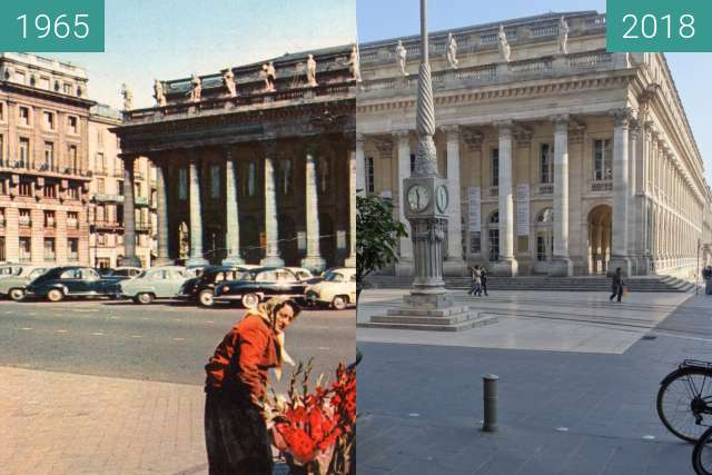 Before-and-after picture of Grand Théâtre Bordeaux between 1965-Apr-15 and 2018-Feb-21