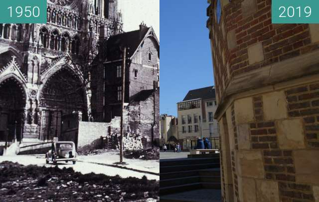 Before-and-after picture of Cathedral of Amiens between 1950 and 2019-May-13