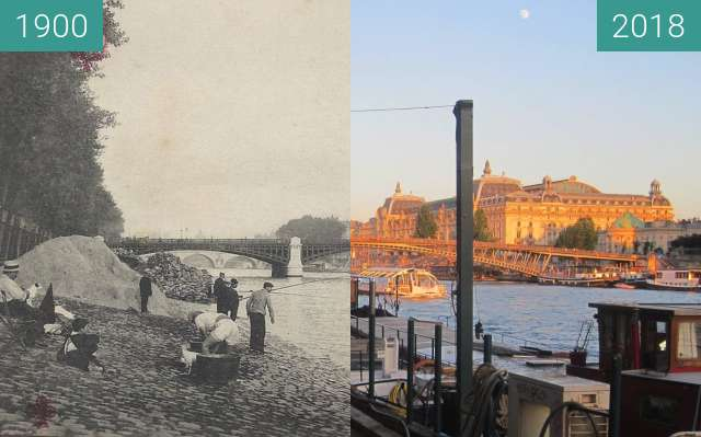 Before-and-after picture of Quai d'Orsay between 1900 and 2018-Jun-25