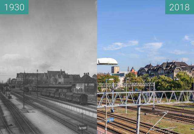 Before-and-after picture of Widok w kierunku Dzielnicy Cesarskiej between 1930 and 2018