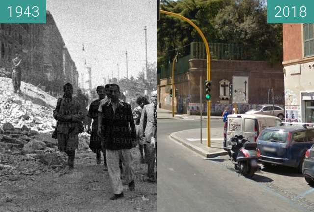 Before-and-after picture of San Lorenzo, Rome after the bombing in 1943 between 1943-Jul-20 and 2018-Jul-19