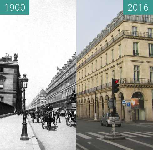 Before-and-after picture of Rue de Rivoli between 1900 and 2016-Jan-13