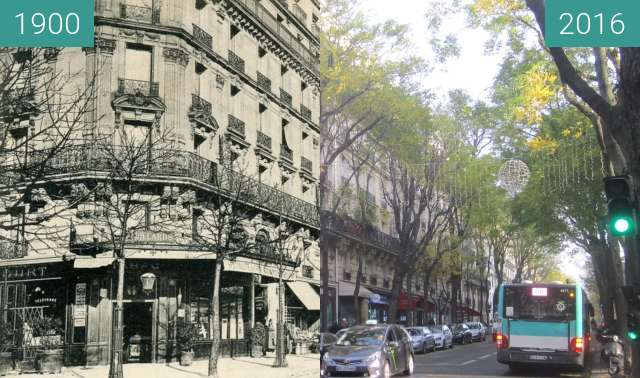 Before-and-after picture of Rue Caulaincourt between 1900 and 2016-Nov-27