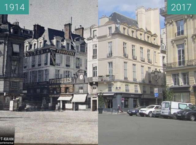 Before-and-after picture of Place des Victoires between 1914-Jun-26 and 2017-Sep-01