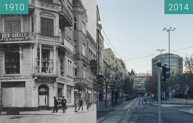Before-and-after picture of Ulica 27 Grudnia between 1910 and 2014