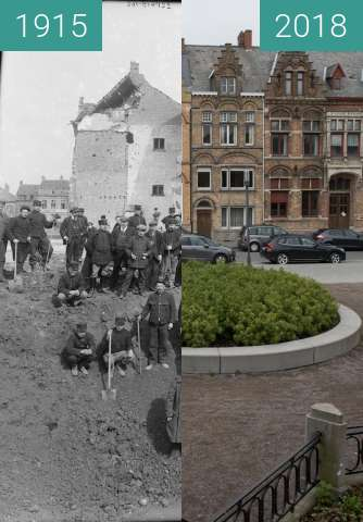 Before-and-after picture of ieper between 1915 and 2018-Apr-10