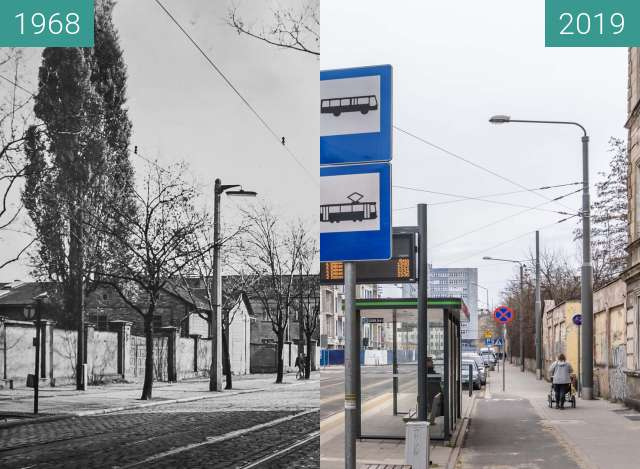 Before-and-after picture of Ulica Zwierzyniecka between 1968 and 2019-Mar-07