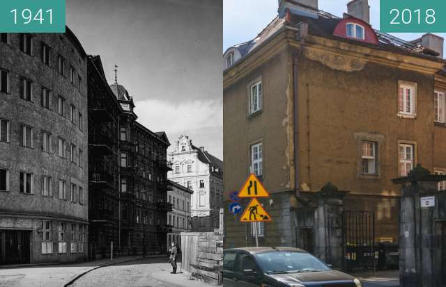 Before-and-after picture of Plac Kolegiacki between 1941 and 2018