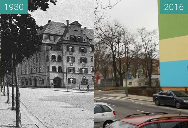 Before-and-after picture of Bahnhofstrasse between 1930 and 2016