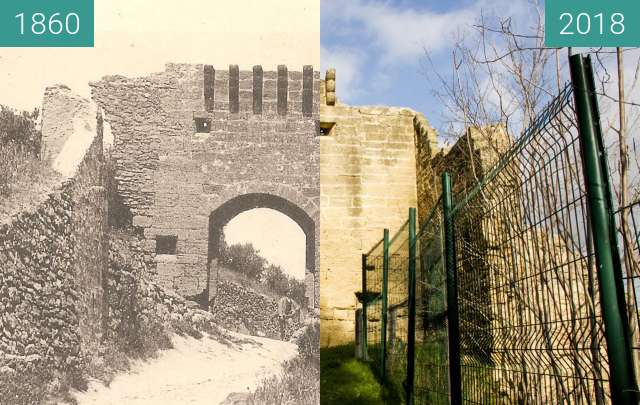 Before-and-after picture of Porte du Fort Saint Chamas  between 1860 and 2018-Feb-01