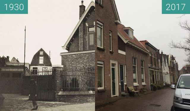 Before-and-after picture of Oudegracht, entrace to the Melcoplein between 1930 and 2017-Dec-20