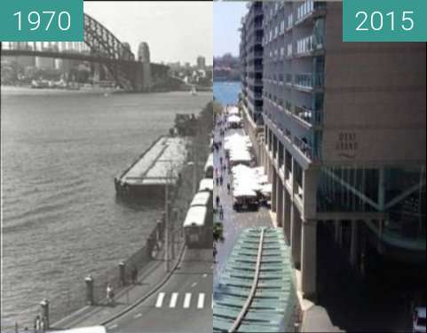 Before-and-after picture of East Circular Quay between 1970 and 2015