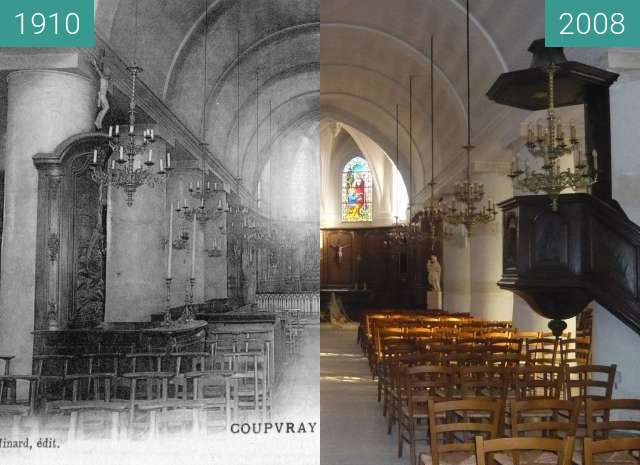 Before-and-after picture of Eglise St Pierre de Coupvray between 1910 and 2008-Jan-26