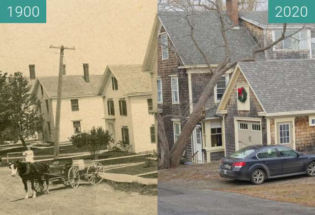 Before-and-after picture of 50 Union St. Belfast, Maine between 1900 and 2020