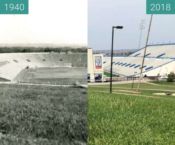 Before-and-after picture of Overlook of Memorial Stadium between 1940 and 2018-Apr-19
