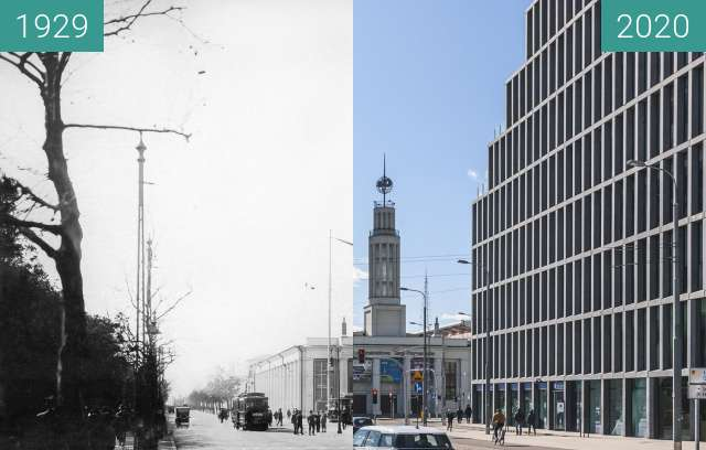 Before-and-after picture of Ulica Roosevelta between 1929 and 2020-Mar-14