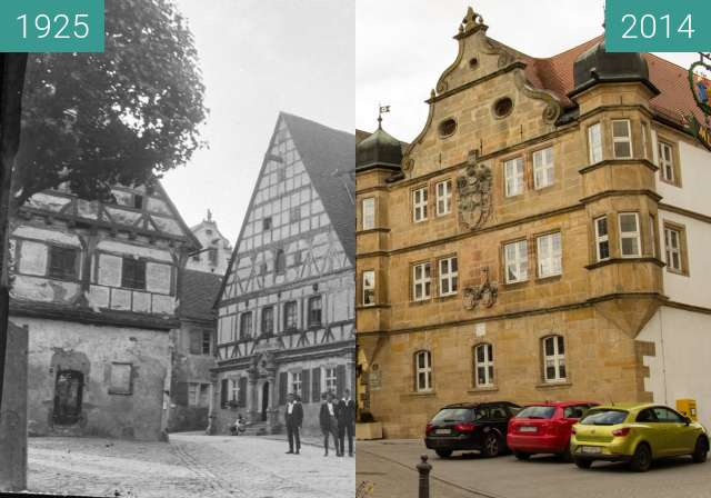 Before-and-after picture of Wolframs-Eschenbach  between 1925 and 2014-Feb-07