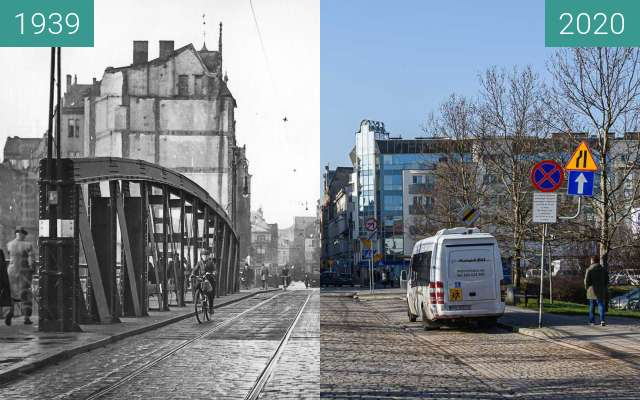 Before-and-after picture of Most Chwaliszewski between 1939 and 2020