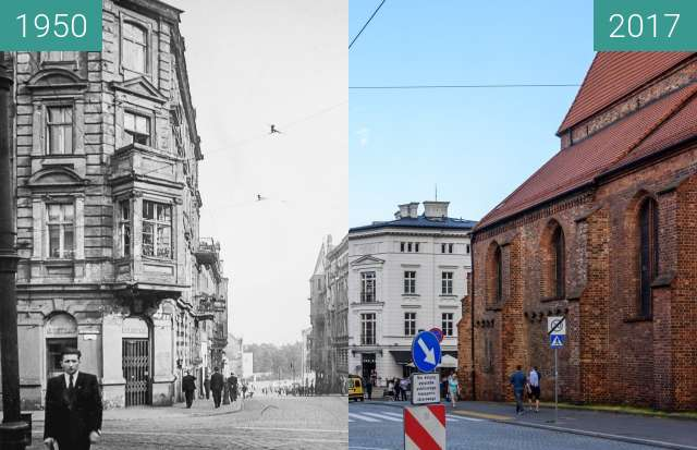 Before-and-after picture of Ulica Św. Marcin between 1950 and 2017