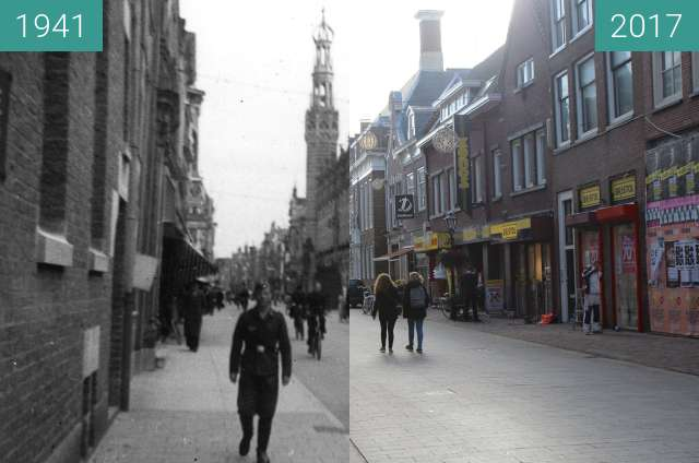 Before-and-after picture of German soldier in Alkmaar between 1941 and 2017-Feb-21