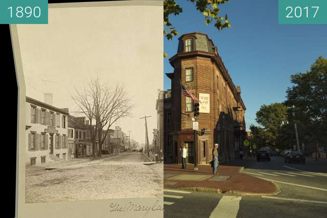 Before-and-after picture of The Maryland Hotel to the Maryland Inn between 1890 and 2017-Oct-03