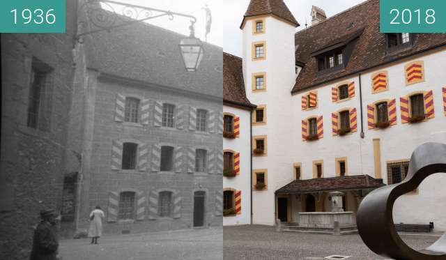 Before-and-after picture of Château de Neuchâtel between 1936-Sep-07 and 2018-Aug-13