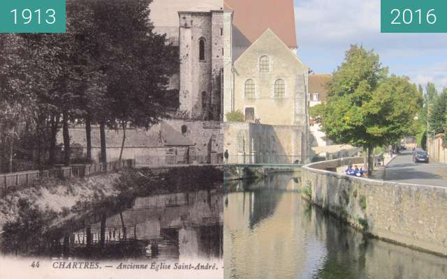 Before-and-after picture of Église St. André between 1913 and 2016-Oct-09