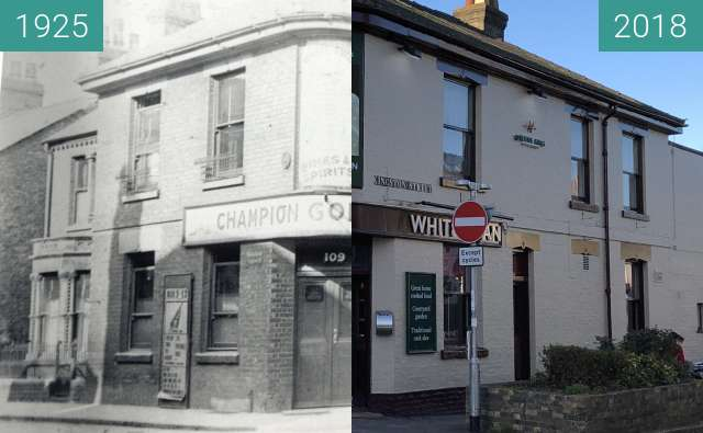 Before-and-after picture of The White Swan, Mill Road between 1925 and 2018-Jan-07